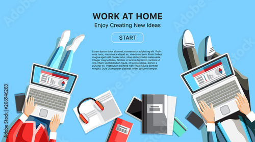 Work At Home Business Banner With E For Text Top View People Working On Laptops