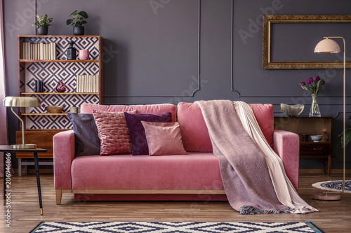 Fotografie, Obraz  Front view of a pink sofa with pillows and blanket, vintage cupboard in the back