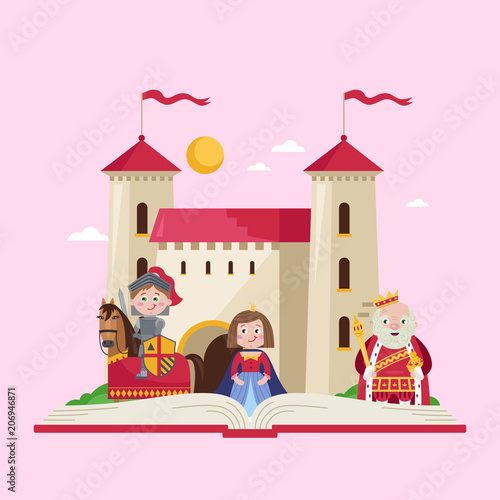 Fairytale poster with beautiful princess, little knight in armor on warrior horse and king wearing crown and mantle near medieval castle Poster