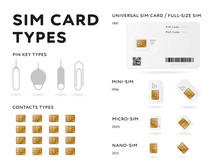 Various SIM Card Types Infographics In Flat Style. MiniSIM, MicroSIM, NanoSIM Standards Cards And Eject Tools Isolated On White Background. Mobile Communication Technology Vector Illustration.