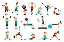 People In Gym Set, Workout Man...