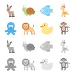 An unrealistic cartoon,monochrome animal icons in set collection for design. Toy animals vector symbol stock web illustration.