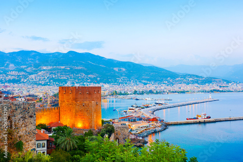 Fotobehang Turkije View of Alanya harbour at sunset. Alanya, Turkey