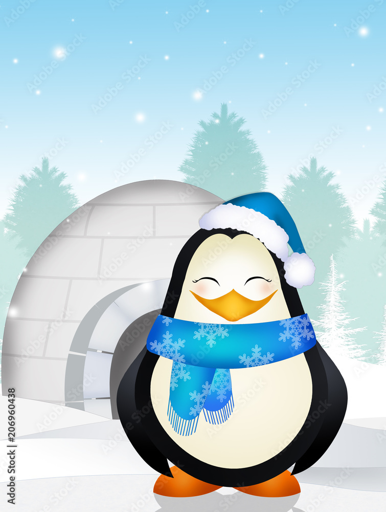 illustration of penguin in the igloo