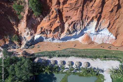 Foto op Aluminium Khaki Red Canyon and The Fairy Spring aerial view, Mui Ne, Vietnam