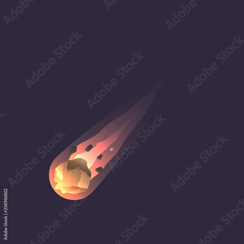 Big asteroid in deep space icon Canvas Print