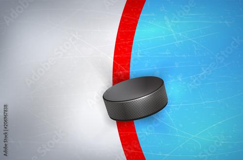 Fényképezés Hockey puck on ice - on red line of goalpost