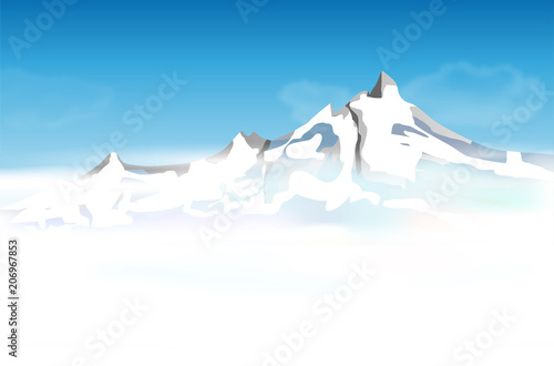 Fotobehang Blauw Abstract mountain landscape with low foggy clouds and blue sky