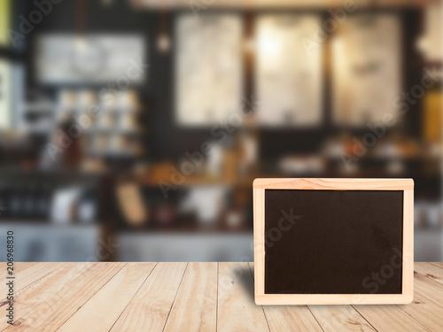 Fototapeta Blank  chalk board on wooden top table obraz na płótnie