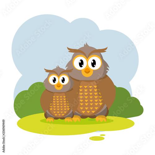 Poster Oiseaux, Abeilles couple owl wild animal in the landscape