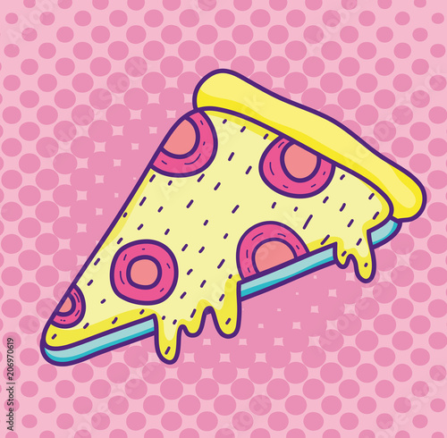 Pop art pizza cartoon