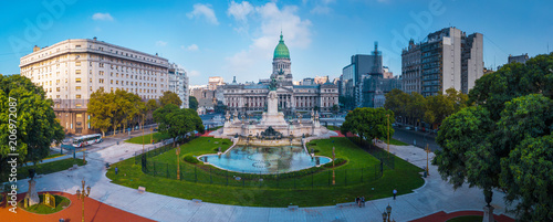 Panorama of the city of Buenos Aires. Aerial panorama of the square near Congreso at sunny day. Argentina