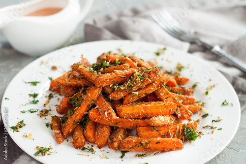 Baby carrots roasted with parmesan and herbs