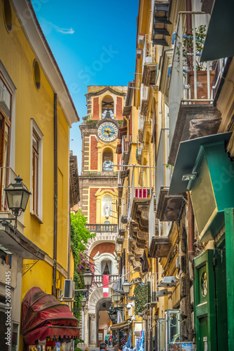 Garden Poster Napels Narrow street with Duomo steeple in old town Sorrento