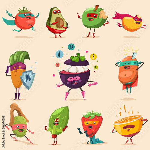 Funny fruits and vegetables in superhero costume. Vector concept illustration for a healthy eating and lifestyle. Cute food cartoon flat character vector set. Wall mural