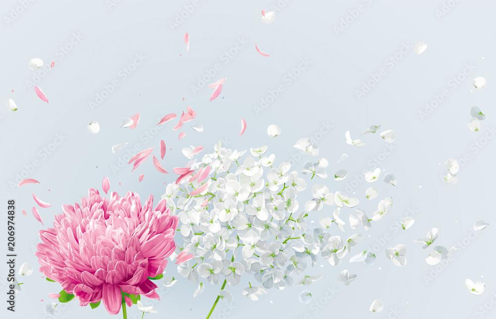 Fototapeta Summer wind vector floral drawing
