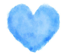 Blue Heart Watercolor On White Background-1