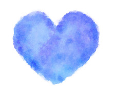 Blue Heart Watercolor On White Background-2