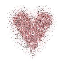 Rose Gold Glittered Heart Isolated On White Background. Elegant Heart Design For Wedding Invitation, Greeting Card Etc. Vector Illustration.