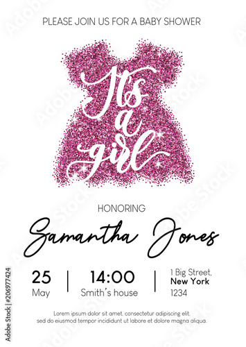 Fototapeta Baby Girl Shower Invitation Card With Pink Glittered Dress And Calligraphy Minimalistic Elegance Design Template For Baby Shower Vector