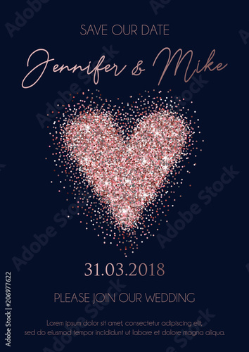 Save The Date Wedding Invitation Cards On Navy Blue Background With Rose Gold Lettering Glittered Heart And Geometric Lines Elegant Design Template For Wedding Invitation Buy This Stock Vector And Explore Similar