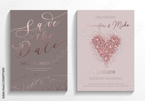 Fototapeta Wedding Invitation Card Set Modern Design Template With Rose Gold Glitter Heart And Lettering Elegance Wedding Invitation With Geometric