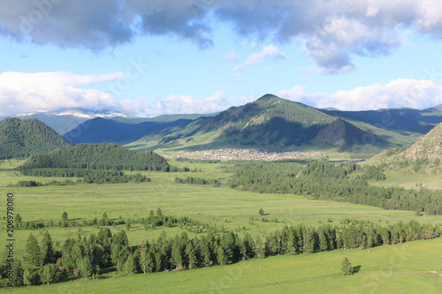 Foto op Canvas Pistache View of the mountain village of Elo, Ongudaysky district, Altai, Russia
