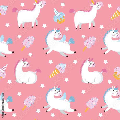 Stoffe zum Nähen Nahtlose Muster mit Muster und Süßigkeiten auf rosa Hintergrund. Vektor-illustration