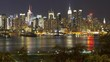 Night view of Midtown Manhattan across the Hudson River, New York, Manhattan, United States of America, Time-lapse