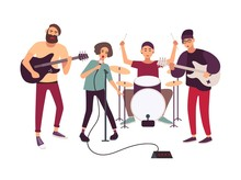 Indie Rock Music Band Performing On Stage Or Rehearsing. Young Woman Singing Into Microphone And Male Musicians Playing Musical Instruments Isolated On White Background. Cartoon Vector Illustration.