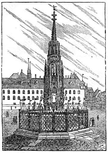 фотография Schöner Brunnen in Nürnberg, Germany (from Das Heller-Magazin, June 14, 1834)