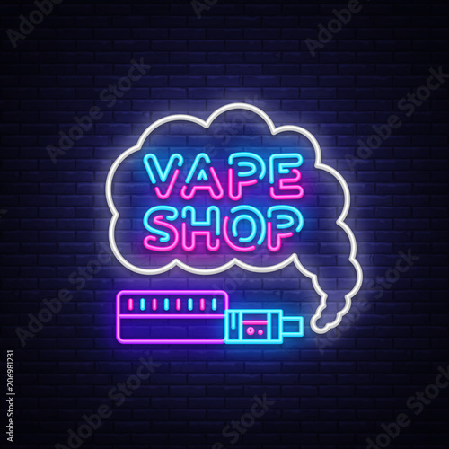 Vape Shop Logo Neon Vector. Vape Neon Sign Design Template