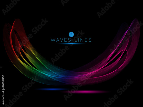 Fotomural  rainbow waves horn on black background colorful light line bright