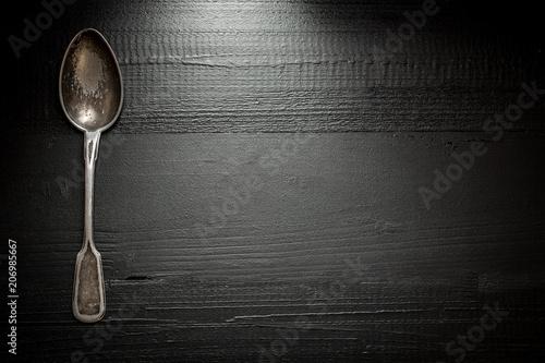 Vászonkép Old Rustic Cutlery on Dark Wooden Background
