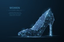 Isolated Vector Woman Shoe. Elegance, Glamour, Beauty Symbol