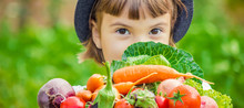 Child And  Bio Vegetables On T...