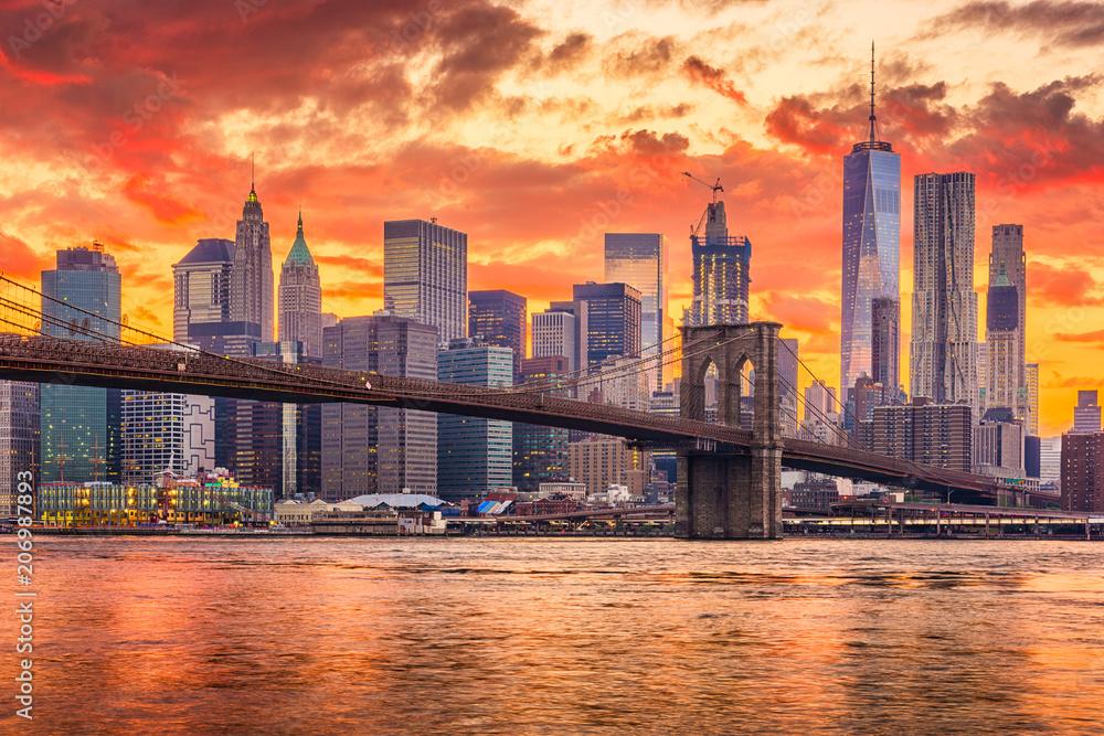 Fototapety, obrazy: New York City Sunset Skyline