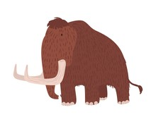 Cute Woolly Mammoth Isolated O...