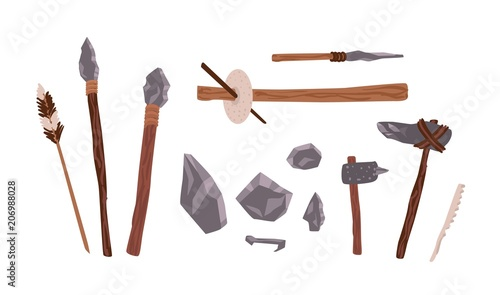 Collection of prehistoric stone tools Canvas Print