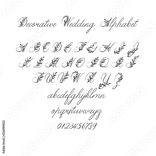 Vector Calligraphy Alphabet Exclusive Floral Letters