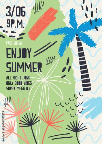 Fototapety, obrazy: Creative flyer or poster template decorated with exotic plants, tropical palm trees, paint stains and blots for summer open air dance party. Modern vector illustration for seasonal event promotion.