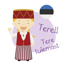 Vector Illustration Of Cartoon Character Saying Hello And Welcome In Estonian