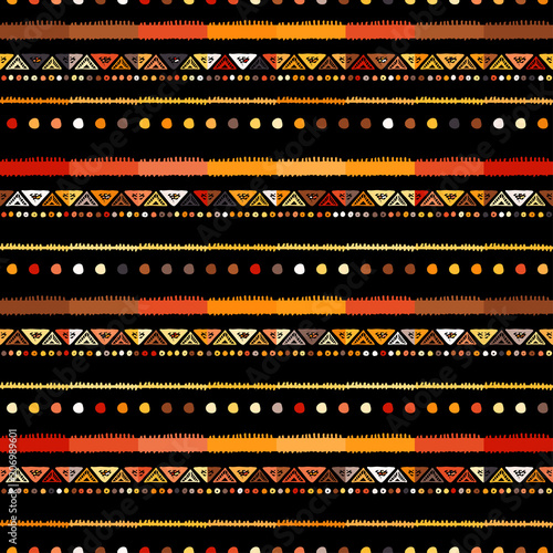 Leinwand Poster Handmade colored stripes bright tribal seamless