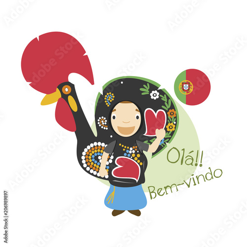 Foto  Vector illustration of cartoon character saying hello and welcome in Portuguese