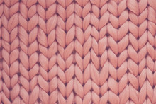 Texture Of Pink Knit Blanket. Large Knitting. Plaid Merino Wool. Top View