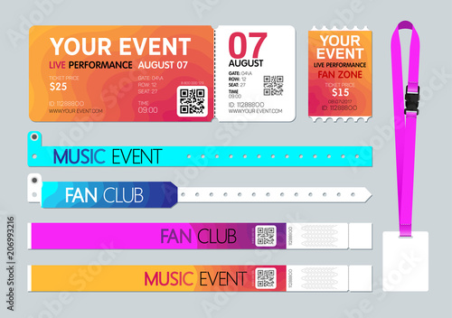 Event Entrance Ticket Badge Card Holder And Bracelets Live Performance Access