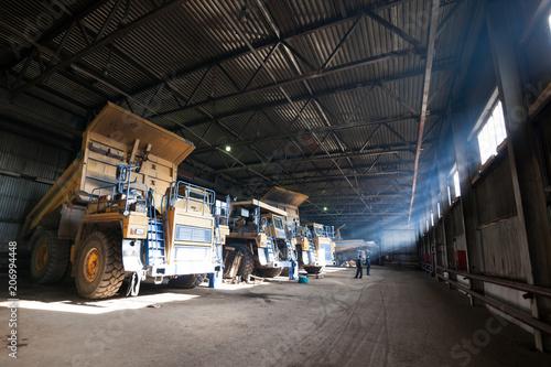 Quarry dump truck in service zone