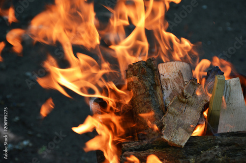 In de dag Vuur / Vlam Burning wood in the grill