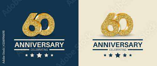 Fotografia  60th Anniversary celebrating cards template. Vector illustration.