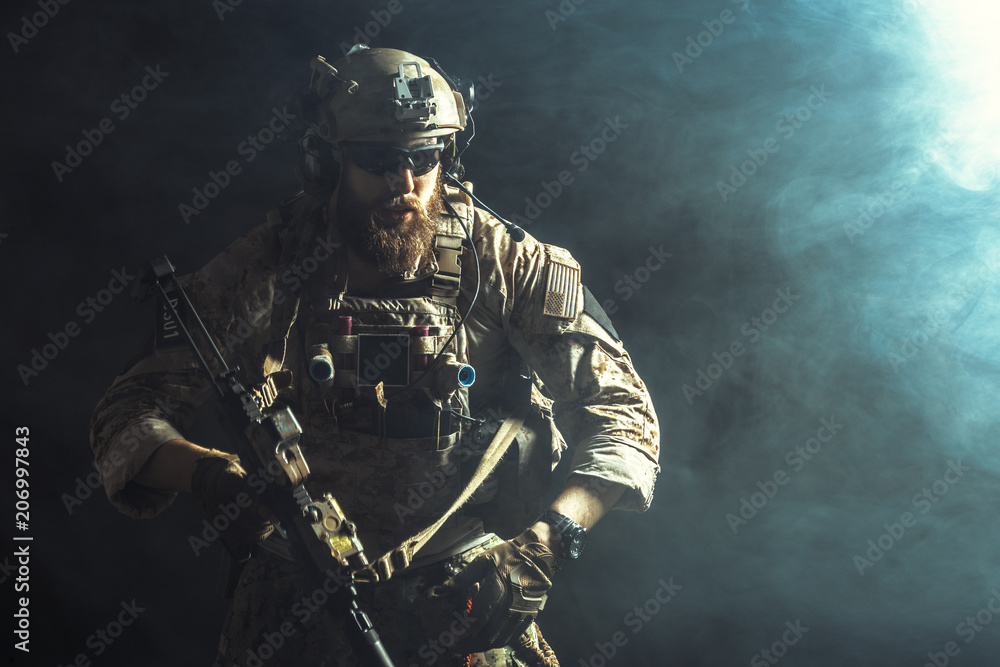 Fototapety, obrazy: Special forces soldier with rifle on dark background
